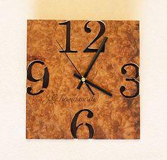 Drevené nástenné hodiny Amboyna Clock, Wall, Handmade, Home Decor, Watch, Hand Made, Decoration Home, Room Decor, Clocks