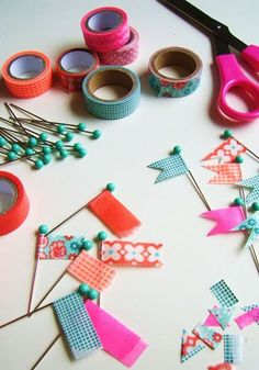 Washi tape flags crafts to do, diy projects to try, diy crafts, Crafts For Teens, Diy And Crafts, Paper Crafts, Teen Crafts, Diy Projects To Try, Craft Projects, Craft Ideas, Washi Tape Crafts, Washi Tapes
