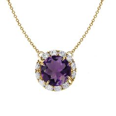 Amethyst pendant with diamond Abbraccio swirl. Available in platinum, 14k or 18k gold (white, rose and yellow) with a .5, .75 or 1 carat center stone.