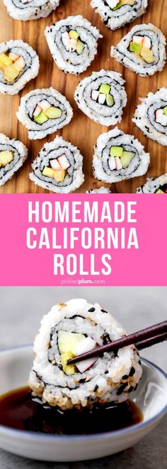 Homemade California Roll + Spicy California Roll - This is an easy sushi recipe for homemade California rolls and spicy Calfornia rolls. Learn how to make rolls with step by step images. #japanesefood #sushi #healthyeating | pickledplum.com