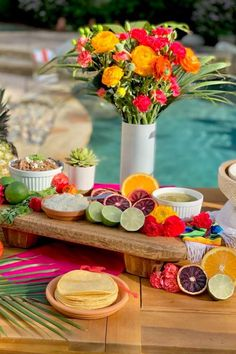 Fall in love with this amazing Mexican fiesta! The taco bar is incredible. Love the vibrant colours! See more party ideas and share yours at CatchMyParty.com Blood Orange Margarita, Mexican Fiesta Party, Fiesta Decorations, Taco Bar, Chips And Salsa, Palm Springs, Fresh Fruit, Tropical, Party Ideas