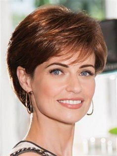 Elegant Side Bang Capless 100 Percent Human Hair Short Straight Wig For Women Cute Hairstyles For Short Hair, Wig Hairstyles, Curly Hair Styles, Short Hair Styles Thin, Stylish Hairstyles, Older Women Hairstyles, Formal Hairstyles, Hair Styles For Women Over 50, Short Hair With Layers