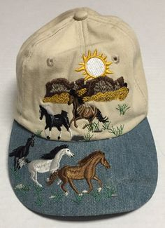 Wild Horse Hat Black White Brown Horses Western Cowgirl Cowboy Outdoors Beat Up  | eBay #wildhorses #horse #outdoors #western #cowgirl #cowboy #blackhorse #whitehorse #brownhorse #hat