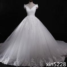 Cinderella Wedding Dress V Neck Bridal Gown Corset Back Cathedral Train Handmade  | eBay