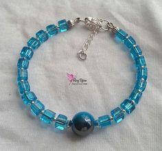 """Bracciale """"Quadrotto Azzurro"""", by Roxy Bijoux, 6,00 € su misshobby.com"""