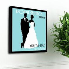 A unique gift for the newly-married couple or the couple married for 50 years, our Personalized Couples Studio Canvas print is a vintage poster inspired print is a great addition to any wall. The classic background color choices are the perfect backdrop for the bride and groom silhouette figures that are the centerpiece of this print.