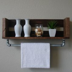Bathroom Shelf With Towel Bar Rustic Gray Storage Crates - Bathroom wall shelf with towel bar for bathroom decor ideas