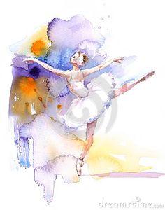 Ballet Dancer Watercolor Illustration Hand Drawn