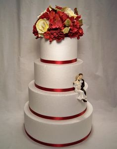 Wedding Cake Topper  Yellow Rose Red Hydrangea by ItTopsTheCake, $38.00