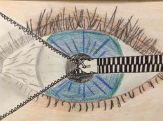 Surreal Eye, middle school drawing class, inspired by Magritte.