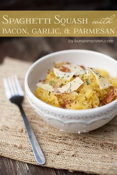 Roasted spaghetti squash is a hearty main dish when tossed with bacon, garlic, & cheese. This spaghetti squash recipe will be a new favorite! Parmesan Recipes, Vegetable Recipes, Paleo Recipes, Low Carb Recipes, Real Food Recipes, Cooking Recipes, Yummy Food, Garlic Parmesan, Oats Recipes