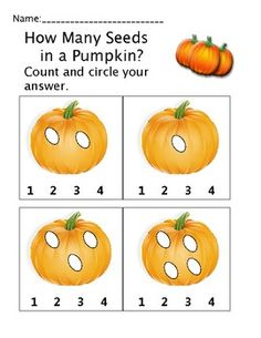 Activities for pre k and kindergarten that go along with the book How Many Seeds in a Pumpkin...math skills worksheets with a pumpkin theme