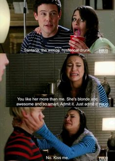 Most people think that she's talking about Quinn, but I like to think she's talking about Brittany. After all, Santana was the only one who thought Brittany was smart, whereas Quinn wasn't extraordinarily intellectual.