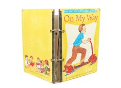 Child's vintage premade scrapbook mini album / yellow, red, blue and green / children at play / photo gift