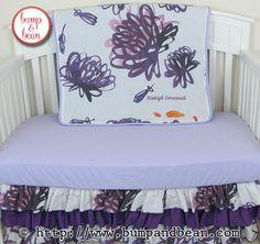 Purple floral ruffled nursery Custom Nursery Bedding handmade by Lisa @ www.BumpAndBean.com.