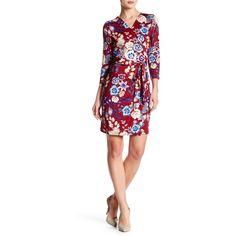 Charles Henry Floral Print Wrap Dress ($40) ❤ liked on Polyvore featuring dresses, berry floral, three quarter sleeve dresses, white 3/4 sleeve dress, flower print dress, white day dress and white surplice dress