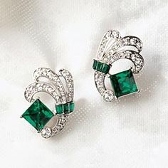 Art Deco Emerald and White Earrings in Holiday 2012 from Uno Alla Volta on shop.CatalogSpree.com, my personal digital mall.
