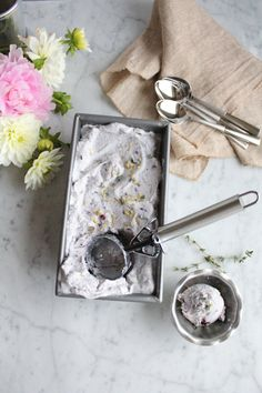 Blueberry Lemon and Thyme Ice Cream!! Thyme and lemon are two of my favorite things so I had to combine the two and make ice cream. This ice cream is light, fruity, floral and delicious! No ice cream maker required!!