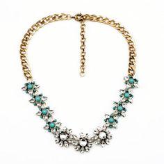 NEW Aqua Crystal Bubble Bib Resin Flower Necklace Bib Statement Gold Tone Chain  #JewelStorie #BibBubbleResinStatement