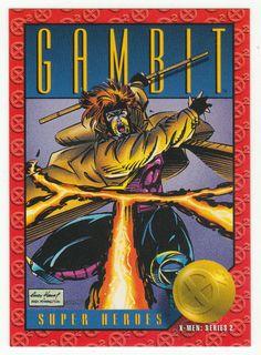 Gambit by Andy Kubert - X-Men: Series 2 Skybox 1993 Marvel Comic Universe, Comics Universe, Marvel Comics, X Men, Gambit Movie, Marvel Cards, Man Illustration, Comic Page, Comic Books Art