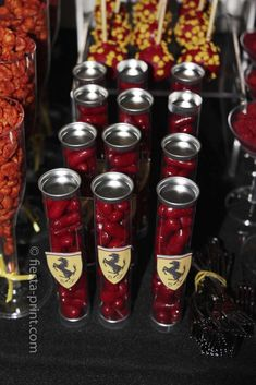 Candy favors at a Ferrari racing car birthday party! See more party ideas at CatchMyParty.com!