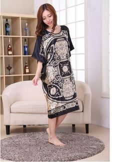 750fd0c7fe8 Plus Size Black Women s Summer Lounge Robe Lady New Sexy Home Dress Rayon Nightgown  Large Loose Sleepwear Bathrobe Gown S002-B