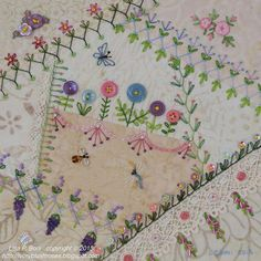 I ❤ crazy quilting, beading & ribbon embroidery . Crazy quilted, Summer Garden details ~By Lisa Plooster Boni, ivoryblushroses Mais Silk Ribbon Embroidery, Embroidery Stitches, Embroidery Patterns, Hand Embroidery, Quilt Patterns, Block Patterns, Crazy Quilt Stitches, Crazy Quilt Blocks, Crazy Quilting