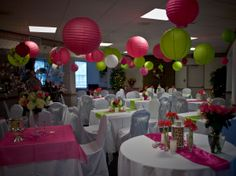 Lime Green & Hot pink party with paper lanterns
