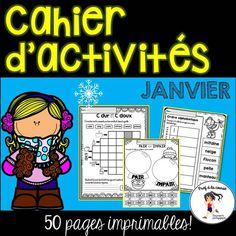 This January pack contains 50 pages of easy, quick and fun math and literacy activities. Use for morning, homework, group or independent work and fast finishers. The best part is that there is NO PREP! Just PRINT! #phonicsactivities #consciencephonologique #centredelitteratie #centresdemaths #literacycenter #mathématiques #écriture #tempslibre #cahierdactivites #profalacourse1