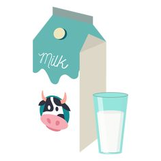 Cow Icon, Cooking Clipart, Cow Illustration, Milk Box, Food Icons, Milk Cookies, Collage Design, Cute Clipart, Food Packaging Design