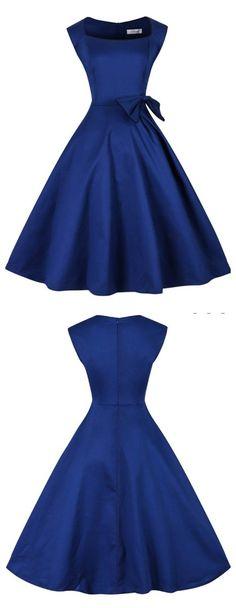 Royal Blue Dress,  Solid Bateau Dress, 50s Vintage Dress, Elegant Bowknot Dress