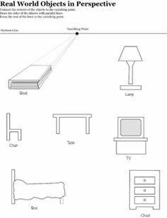 one point perspective objects worksheet - Google Search