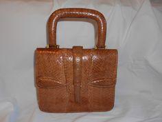 Vintage Snakeskin Leather Handbag 1930s Tan Skin Bag Deco Bag Top Handle Beautiful Markings Silk Lined Zip Pocket Gusseted Vintage Wedding by GladragsandHandbags1 on Etsy