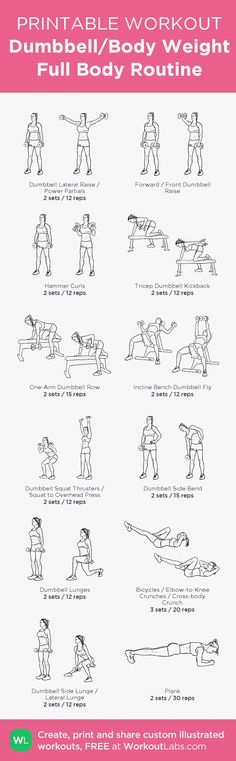Dumbbell/Body Weight Full Body Routine: my visual workout created at WorkoutLabs… – Fitness Maxx One Arm Dumbbell Row, Dumbbell Fly, Dumbbell Workout, Dumbbell Exercises, Tummy Workout, Weight Loss Workout Plan, Weight Loss Challenge, Weight Training, Printable Workouts