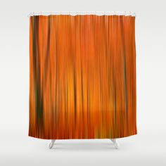 Fall forest (abstract) Shower Curtain by Pirmin Nohr - $68.00 Edited version of my popular photo of an autumnally forest: http://society6.com/pirminnohr/autumn-i5m_print#1=45  landscape, nature, forest, trees, orange, blur, blurred, soft, fall, autumn, autumnally