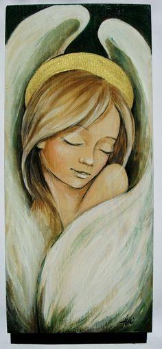 angel acrylic painting on wood