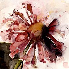 Zinnia wrinkled, watercolour, Kathy Lewis