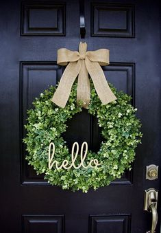 Boxwood Wreath Hello Wreath Greenery Wreath Everyday Wreath Year Round Wreath Fa… – farmhouse front door with screen Front Door Decor, Wreaths For Front Door, Spring Door Wreaths, Front Doors, Mesh Wreaths, Yarn Wreaths, Winter Wreaths, Burlap Wreaths, Holiday Wreaths