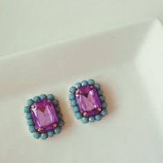 Purple turquoise square earrings | chouchou