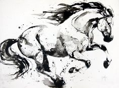 Kahil by Elise Genest Horse Drawings, Art Drawings, Equine Art, Horse Art, Art Inspo, Art Sketches, Painting & Drawing, Watercolor Paintings, Cool Art