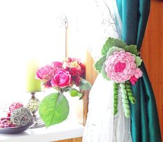 Crochet Curtain Tie Backs  Crocheted Flowers   by CraftsbySigita