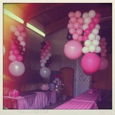 Balloon chandeliers for a Victoria's Secret themed bridal shower.