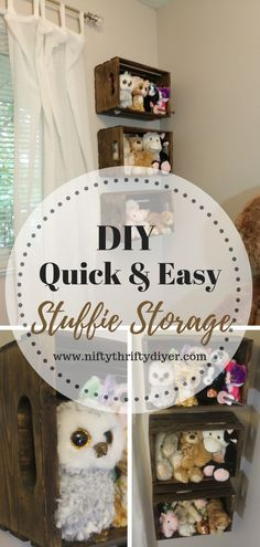 This DIY Utilizes crates as shelves for stuffed animals, but you can use them for other things too!<br> Are you looking for a DIY stuffed animal storage solution? I'll show you a simple way to neatly display your children's stuffed animal collection Stuffed Animal Displays, Organizing Stuffed Animals, Storing Stuffed Animals, Homemade Stuffed Animals, Stuffed Animal Storage, Soft Toy Storage, Diy Storage, Pet Organization, Organizing Solutions