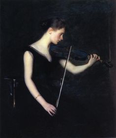 """Girl with Violin"" by American Impressionist painter Edmund Tarbell."
