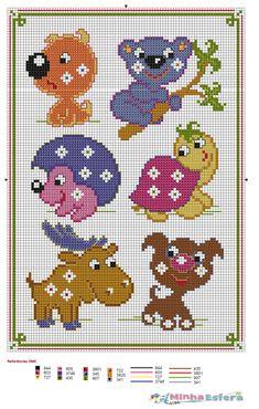 Gráfico Ponto Cruz Animais em jeito de homenagem porque foi o Dia Mundial do Animal, aqui fica um gráfico de uns animais com um ar divertido!