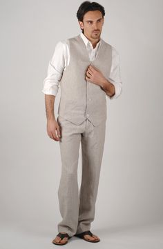mens linen pants and vest - Pi Pants