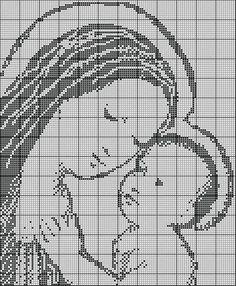 Schema n. 2 per uncinetto filet   Madonna con bambino   Questo schema è stato realizzato da me. L'ho anche realizzato per   un quadre... Cross Stitch Designs, Cross Stitch Patterns, Crochet Patterns, Filet Crochet, Knit Crochet, Holy Mary, Madonna, Crochet Flowers, Blackwork