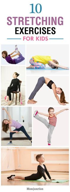 For kids Top 10 Stretching Exercises For Kids: here are ten brilliant stretching exercises to boost your kids energy levels and get him ready for exercise. Stretches For Kids, Stretching Exercises, Yoga For Kids, Exercise For Kids, Children Exercise, Kids Workout, Flexibility Stretches, Workout Ideas, Vinyasa Yoga