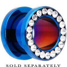 00 Gauge Blue Anodized Titanium Clear Gem Screw Fit Tunnel | Body Candy Body Jewelry