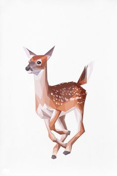 Geometric illustration Bambi Baby Deer Animal by TinyKiwiCreations, $12.00